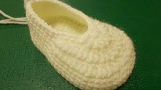 getlinkyoutube.com-Основа пинетки  - Crochet  booties - вязание крючком