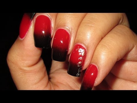 Black & Red Gradient with Stamped Accent Nail Art Tutorial (Nail Art April 2013 #4)