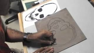 getlinkyoutube.com-Calavera / Skull - Linóleo y stencil