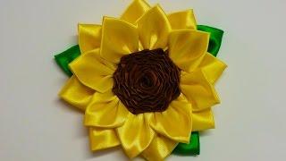 getlinkyoutube.com-DIY Kanzashi sunflower, how to make kanzashi flower, diy flores de cinta