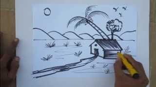 getlinkyoutube.com-How to draw nature drawing in easy method by praveen d l
