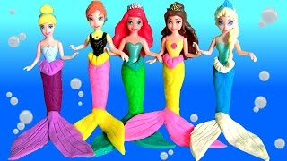 getlinkyoutube.com-Play Doh Princesas Sereias Anna Elsa Ariel Cinderela Bela - Play Doh Mermaids Disney Frozen