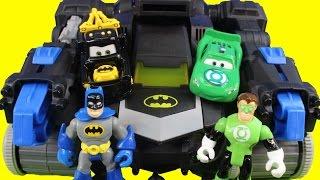 getlinkyoutube.com-Disney Cars Pixar Custom Mater Lightning McQueen start Imaginext Batman Hall Of Justice on fire