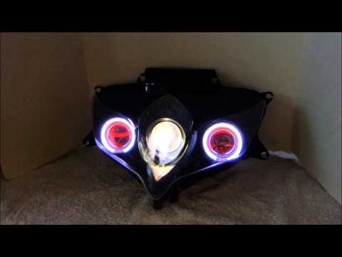 #2 Suzuki GSXR 600 750 2008 - 2010 HID Projector Headlights BiXenon Angel Eyes Halo By BKmoto.com