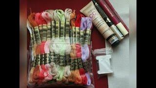 Рукодельные покупки, авторские схемы, нитки и ткань для вышивки крестом.