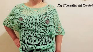 getlinkyoutube.com-Capa ó blusa en crochet (ganchillo)Parte 1