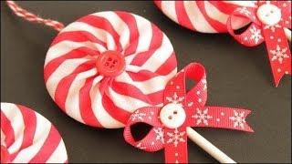 getlinkyoutube.com-Fabric Yo-Yo Lollipop Christmas Ornaments