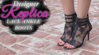 getlinkyoutube.com-DIY video-How to make BLACK LACE ANKLE BOOTS