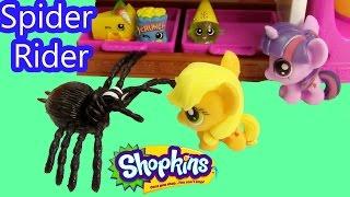 getlinkyoutube.com-MLP Fashem's Shopkins My Little Pony SPIDER RIDER Twilight Sparkle AppleJack Halloween