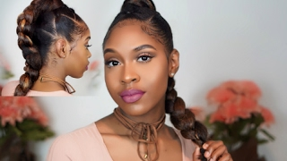 getlinkyoutube.com-EASY BRAIDED-HAWK UPDO (ELASTIC BRAID METHOD) | NATURAL HAIR TUTORIAL