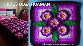 "tejidos a crochet paso a paso: muestra ""5 flores"" para colchas video 3"