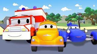getlinkyoutube.com-Эвакуатор Том и Такси, Вертолет, Синяя гоночная машина, Кран, Бульдозер | мультик для детей 🚚🏎️🚑