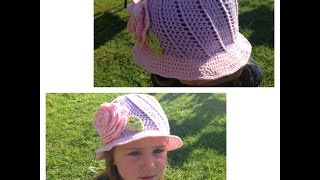 getlinkyoutube.com-How to crochet sun hat (all sizes)