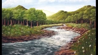 getlinkyoutube.com-Painter In You - Acrylic Landscape Painting Lesson - Mountain Meadow River - Full Tutorial