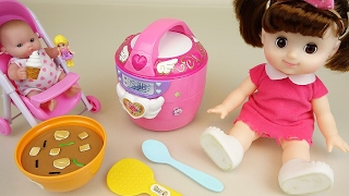 getlinkyoutube.com-Baby doll Rice Cooker kitchen house toys play