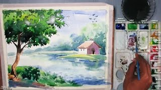 getlinkyoutube.com-Beginners Watercolor : How to Draw A House Landscape | Episode-3