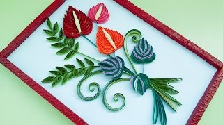 getlinkyoutube.com-Decorate Quilling greeting cards and wall designs by using Falmingo flowers (квиллинг)