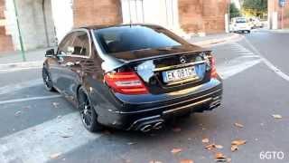 getlinkyoutube.com-Mercedes C63 AMG - LOUD acceleration & downshift