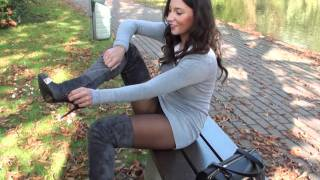 getlinkyoutube.com-Broken gianmarco lorenzi boots high heels & suede GML grey thigh high boots