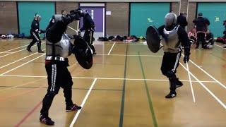 getlinkyoutube.com-Armoured Sword and Shield sparring Damien vs Nick