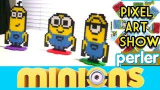 getlinkyoutube.com-Perler Bead Tutorial: Freestanding Minions Project - Pixel Art Show