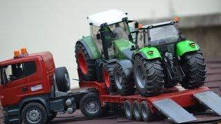 getlinkyoutube.com-BRUDER SPIELWAREN TRUCK SCANIA Traktor Fendt , Deutz