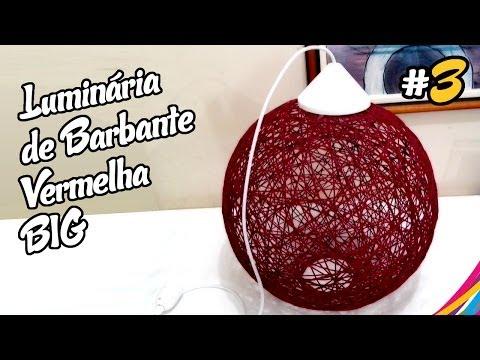 Luminaria de Barbante Vermelha / Red Twine Lampshade / Lampara de Hilo Roja DIY #3