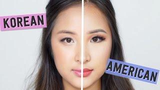 getlinkyoutube.com-KOREAN vs AMERICAN Makeup Tranformation