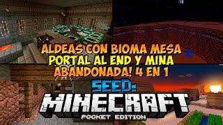 getlinkyoutube.com-Seeds Para Minecraft PE 0.14.0: SEED DE ALDEA CON BIOMA MESA, MINA ABANDONADA Y MAS!!