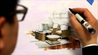 getlinkyoutube.com-Tutorial - Freehand Marker Interior Rendering, MLib Living Room, HD Short 10 Min, 160115