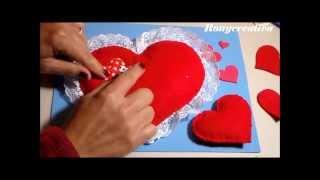 getlinkyoutube.com-SAN VALENTIN CORAZONES DE FIELTRO / VALENTINES DAY FELT HEARTS DIY