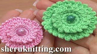 getlinkyoutube.com-Layered Crochet Stuffed Flower Button Tutorial 6 Part 2 of 2 Decrease Stitches