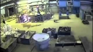 getlinkyoutube.com-Explosion Showers Workers With Molten Metal