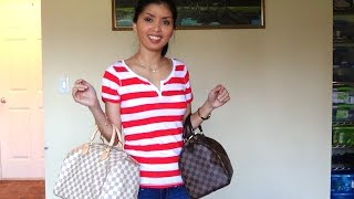 getlinkyoutube.com-Louis Vuitton Speedy 30 - Damier Ebene vs Damier Azur