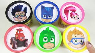getlinkyoutube.com-Learn Colors with PJ Masks Shimmer and Shine Blaze and the Monster Machines Bubble Guppies Play Doh