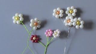 getlinkyoutube.com-Flor de perolas Passo a Passo -Flower pearls