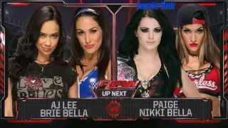 getlinkyoutube.com-WWE Raw Aj lee & Brie Bella vs Paige & Nikki Bella 9/15/14