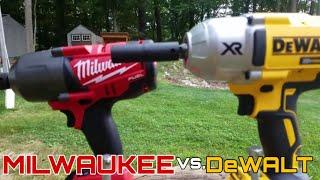 getlinkyoutube.com-Milwaukee 18v Fuel (2763-20) vs DeWalt 20v XR Impact Wrench (DCF899B) Lag Bolt Face Off in 4k
