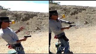 getlinkyoutube.com-Semi-Automatic Pistol vs. Single Action Revolver - Speed Test - Cisko Master Gunfighter