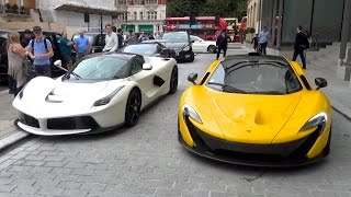 getlinkyoutube.com-The Great Arab Supercar Invasion in London, 2016 - Chiron, LaFerrari, Aventadors and More!
