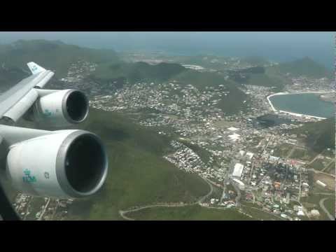 St. Maarten KLM Boeing 747 take off onboard 1080p