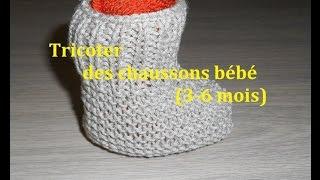 getlinkyoutube.com-Tricoter des chaussons bebe 3-6 mois.( Facile et rapide)