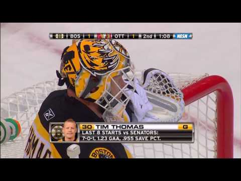 Tim Thomas makes an incredible save on Alfredsson 10/24/09 HD