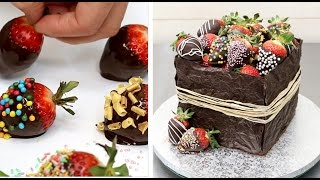 getlinkyoutube.com-CHOCOLATE Covered STRAWBERRIES Basket Cake by CakesStepbyStep