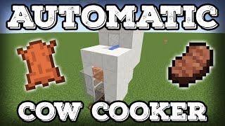 getlinkyoutube.com-Minecraft Tutorial - Automatic Cow Cooker - Leather Farm - Steak Farm - Compact(Minecraft 1.11+)