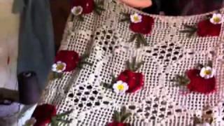 getlinkyoutube.com-Croche toalha do jogo de cozinha maçã