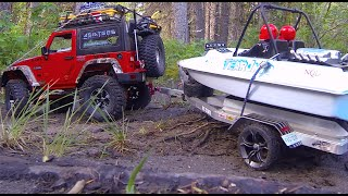 getlinkyoutube.com-RC CWR SCX-10 and custom Jet boat trailer in K Country