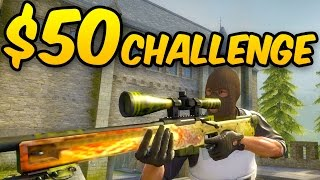 $50 CHALLENGE - JUMPING AWP NO SCOPE - CSGO Competitive