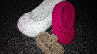 getlinkyoutube.com-How to increase sizes for my easy crochet Mary Jane Ballerina slippers part 1