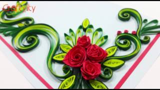 getlinkyoutube.com-DIY Paper Quilling Flowers Cards Tutorial Art: How to make Paper Quilling Rose Flower Card Ideas